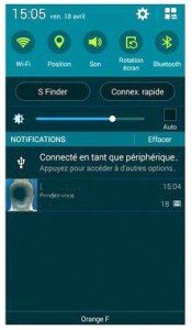 la barre des notifications du S5