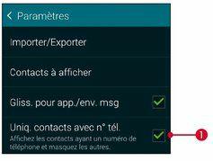 Appuyez sur l'onglet Contacts puis sur Uniq. contacts avec n° tél.