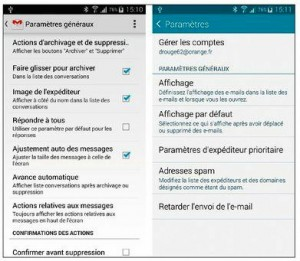 Configurer les options des comptes de messagerie