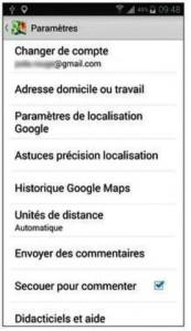 Les paramètres de Google Maps