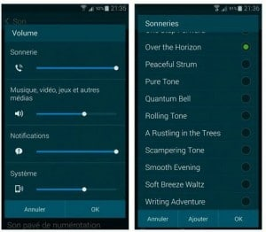 Configurer les options sonores du Galaxy S5