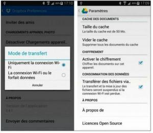 Configurer la synchronisation automatique avec le nuage Internet (dans Dropbox à gauche et Google Drive à droite)
