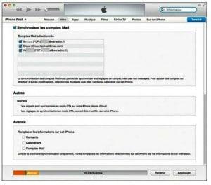 A la rubrique Synchroniser les comptes Mail cochez les cases des comptes de courrier électronique à synchroniser