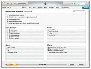 Utilisez le panneau Musique pour copier les fichiers audio dans votre iPhone