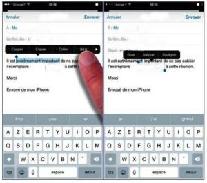 À gauche, la sélection du texte à mettre en gras. À droite, le texte sur la première ligne a été mis en gras. C'est à présent le texte sur la seconde ligne qui a été sélectionné et mis en italique