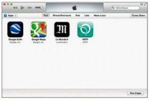 Les applications téléchargées apparaissent dans la bibliothèque Apps