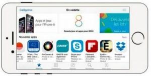 Les icônes en bas de l'écran donnent accès aux diverses parties ou fonctionnalités de l'App Store