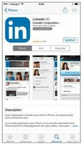 La page descriptive de l'application du réseau social LinkedIn