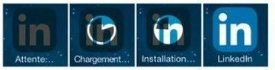 Les phases du téléchargement et d'installation d'une application sur l'écran d'accueil