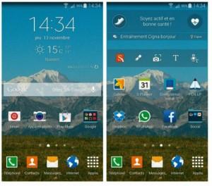 Affichage panoramique des pages de l'écran d'accueil du Galaxy Note 4