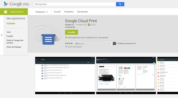 Installez Google Cloud Print