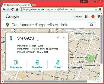 L'emplacement de votre téléphone sera affiché sur une carte