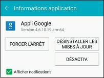 Désactiver une application