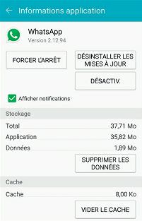 Information sur une application