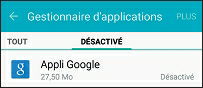 Les applications désactivées