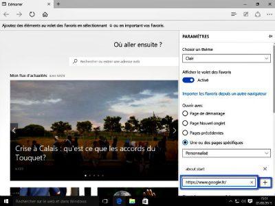 Personnaliser Microsoft Edge