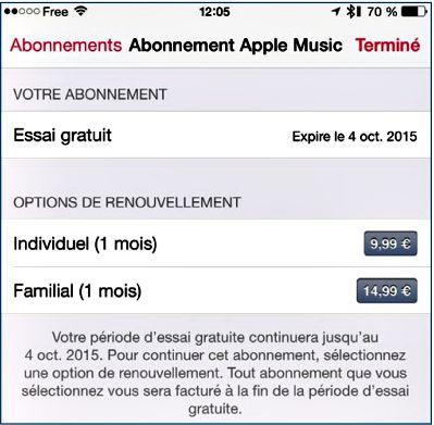 Vérifiez votre abonnement Apple Music