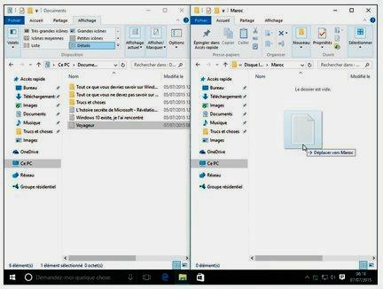 Glissez-déplacez un fichier ou un dossier d'une fenêtre à une autre