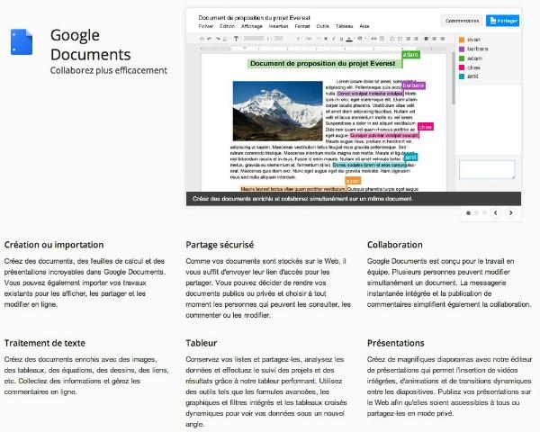Exemple d'un document Google docs