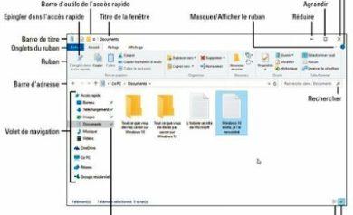 Terminologie des diverses parties d'une fenêtre de Windows