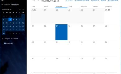 Le Calendrier de Windows 10