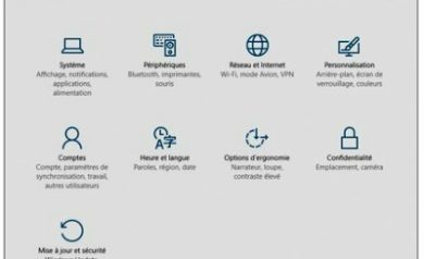 L'écran Paramètres de Windows 10