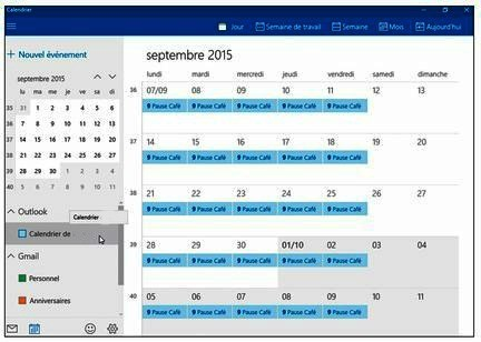 L'application Calendrier de Windows 10