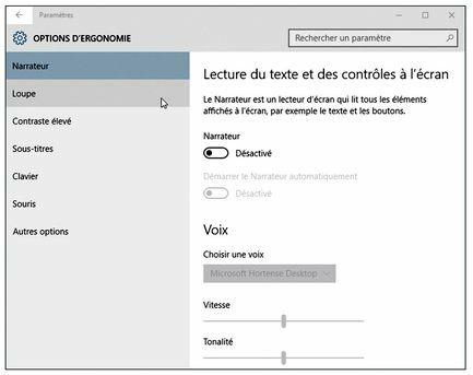 Les options d'ergonomie sont accessibles depuis la fenêtre Paramètres