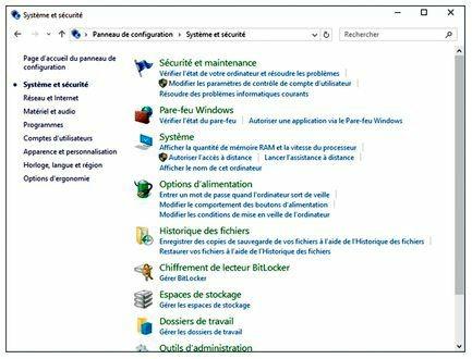 Les outils Système et sécurité de Windows
