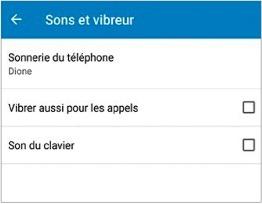 Sons et vibreurs d'un smartphone android