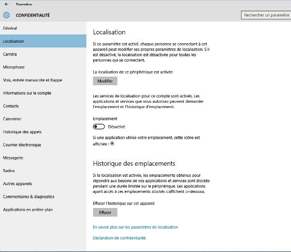Localisation Windows 10
