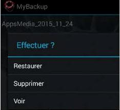 Restaurer les données avec My Backup pro