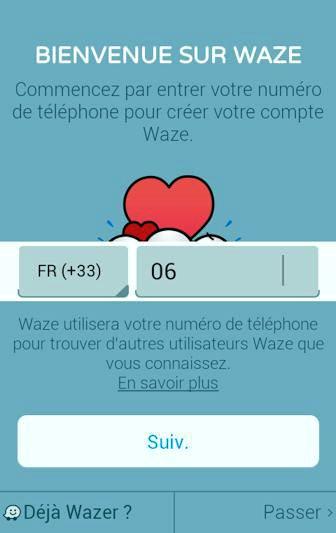 Saisissez votre numéro de téléphone pour créer votre compte Waze ou passez cette étape pour utiliser Waze sans créer de compte.