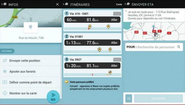 l'écran de navigation synthétise l'itinéraire-Waze