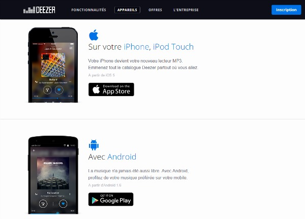 Application Deezer pour mobiles