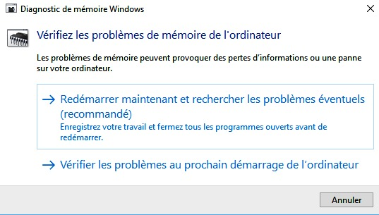 Diagnostic de mémoire Windows