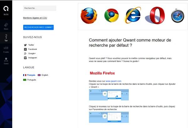 Ajouter Qwant comme moteur de recherche par défaut