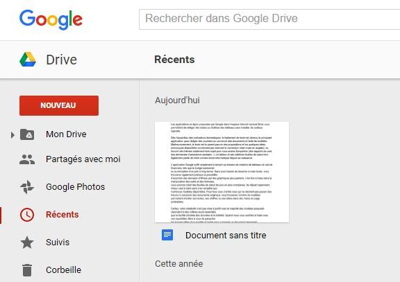 Récupérer un texte dans drive