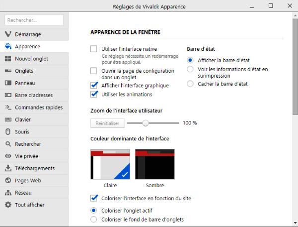 réglages du navigateur web Vivaldi section apparence