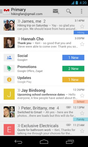 Interface de Inbox by Gmail sur mobiles