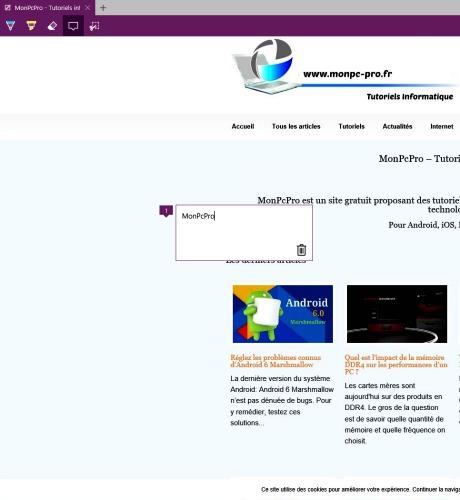 Annoter une page Web avec Edge