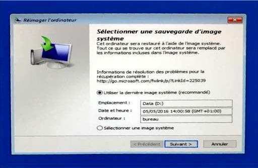 Sélectionner une sauvegarde d'image système