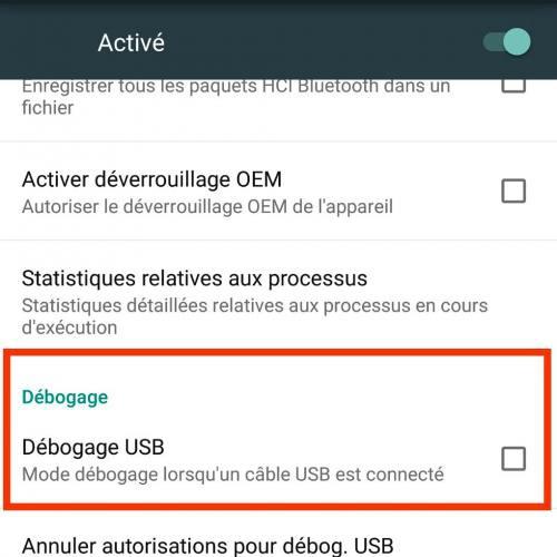 Activer le débogage USB sous Android
