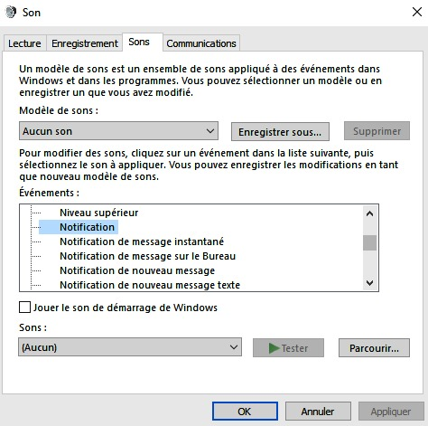 Faire taire les notifications de Windows 10