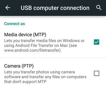 Transfert de fichier -MTP