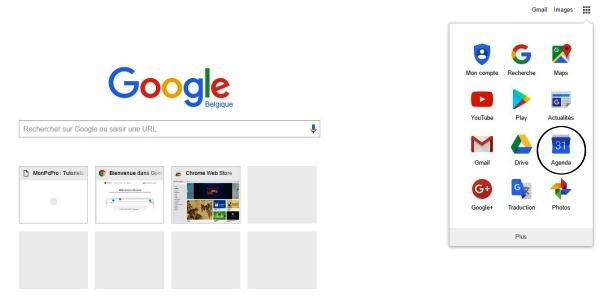 Trouver Google agenda dans le navigateur Chrome