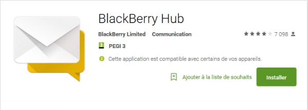 installer l'application Blackberry Hub