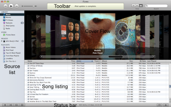 interface itunes