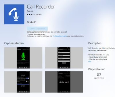 Appli Call Recorder pour Windows phone