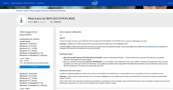 Image mise à jour bios Intel